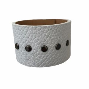 Sleek Hand Crafted White Leather Cuff Classic Punk